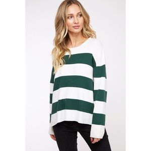 Astrid Striped Sweater - Green/Ivory